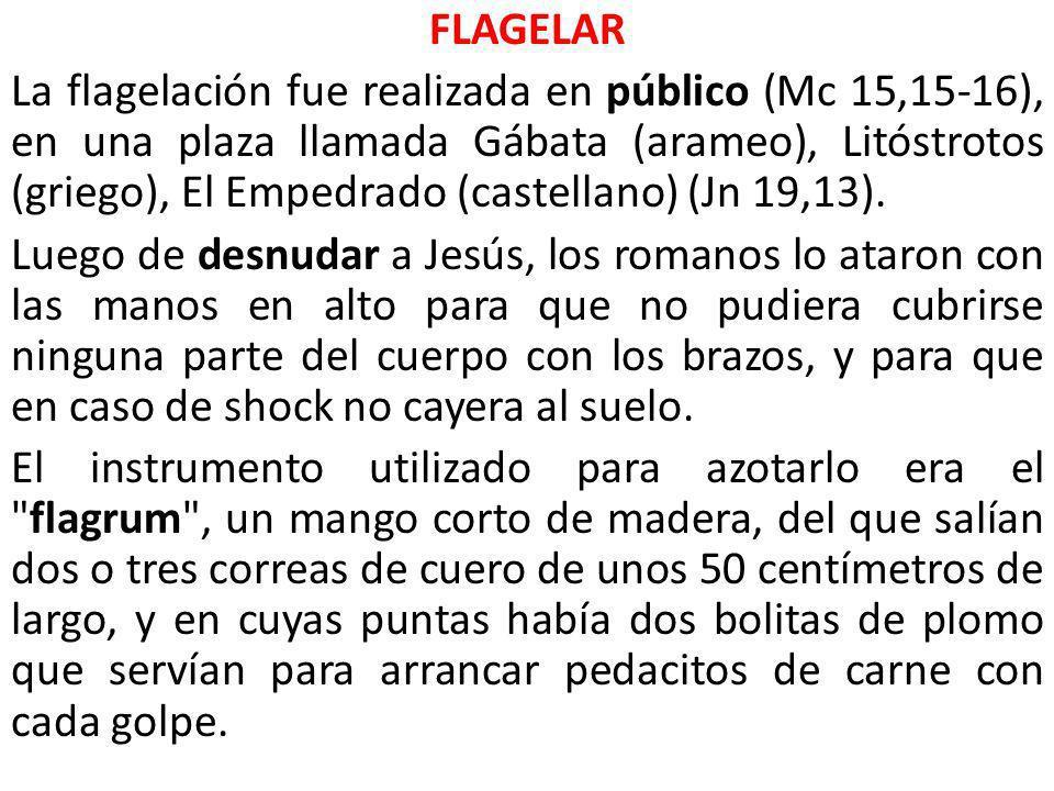 FLAGELAR La flagelación fue realizada en público (Mc 15,15-16), en una plaza llamada Gábata (arameo), Litóstrotos (griego), El Empedrado (castellano)