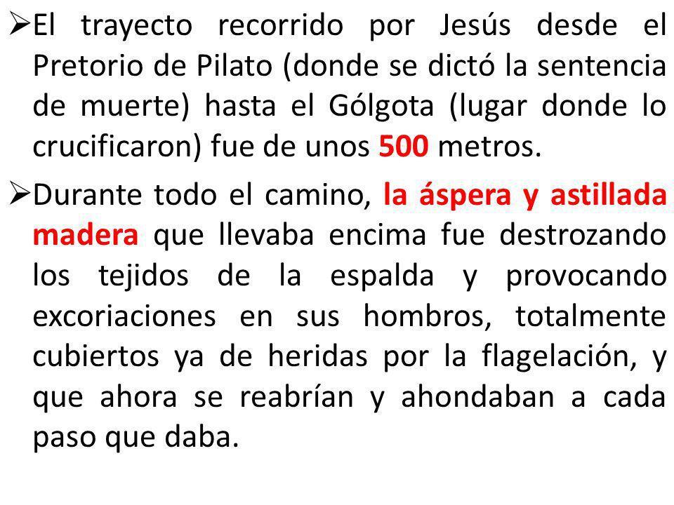 El trayecto recorrido por Jesús desde el Pretorio de Pilato (donde se dictó la sentencia de muerte) hasta el Gólgota (lugar donde lo crucificaron) fue