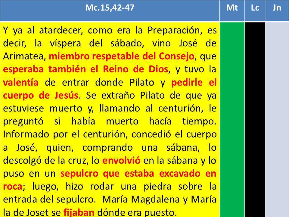 Mc.15,42-47MtLcJn Y ya al atardecer, como era la Preparación, es decir, la víspera del sábado, vino José de Arimatea, miembro respetable del Consejo,