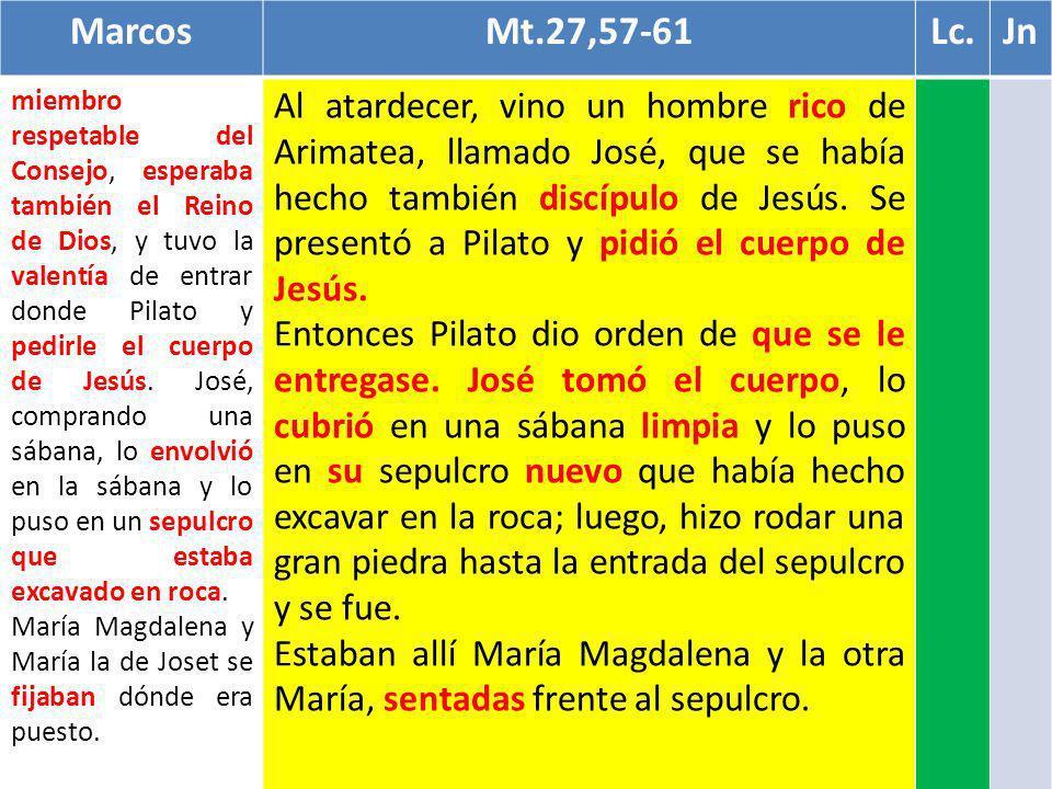 MarcosMt.27,57-61Lc.Jn miembro respetable del Consejo, esperaba también el Reino de Dios, y tuvo la valentía de entrar donde Pilato y pedirle el cuerp
