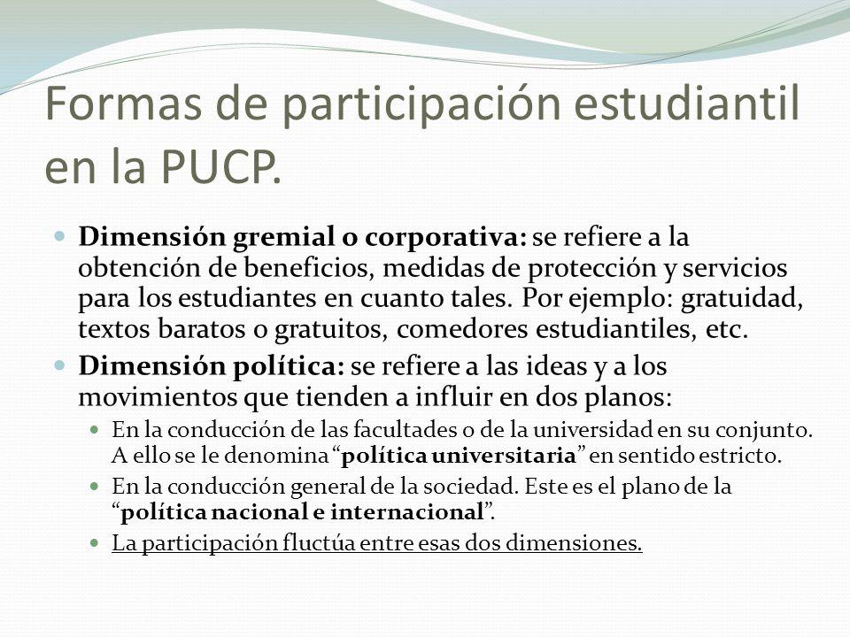 Formas de participación estudiantil en la PUCP. Dimensión gremial o corporativa: se refiere a la obtención de beneficios, medidas de protección y serv