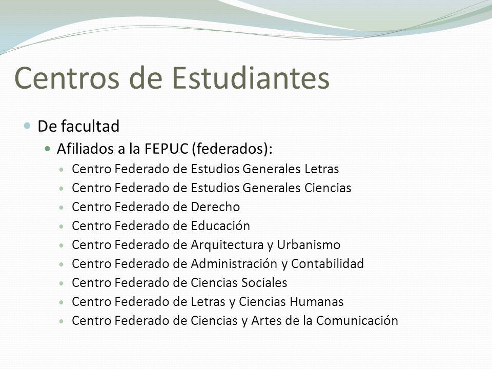 Centros de Estudiantes De facultad Afiliados a la FEPUC (federados): Centro Federado de Estudios Generales Letras Centro Federado de Estudios Generale
