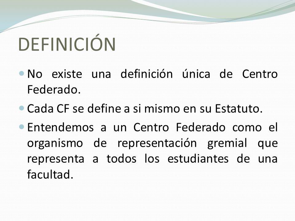DEFINICIÓN No existe una definición única de Centro Federado. Cada CF se define a si mismo en su Estatuto. Entendemos a un Centro Federado como el org
