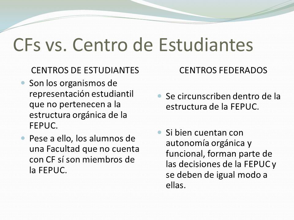 CFs vs. Centro de Estudiantes CENTROS DE ESTUDIANTES Son los organismos de representación estudiantil que no pertenecen a la estructura orgánica de la