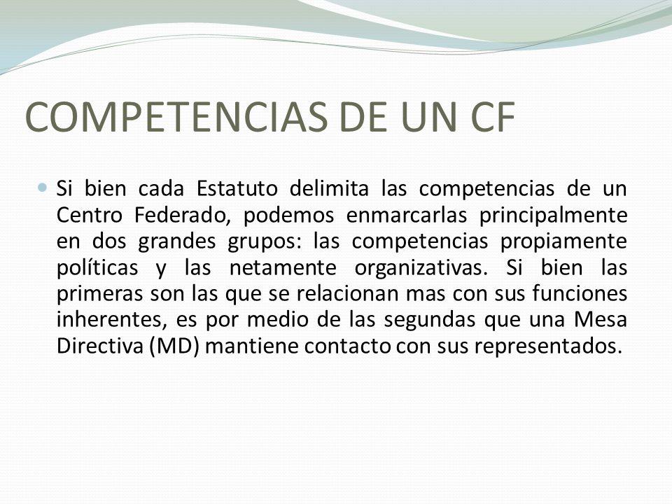 COMPETENCIAS DE UN CF Si bien cada Estatuto delimita las competencias de un Centro Federado, podemos enmarcarlas principalmente en dos grandes grupos: las competencias propiamente políticas y las netamente organizativas.