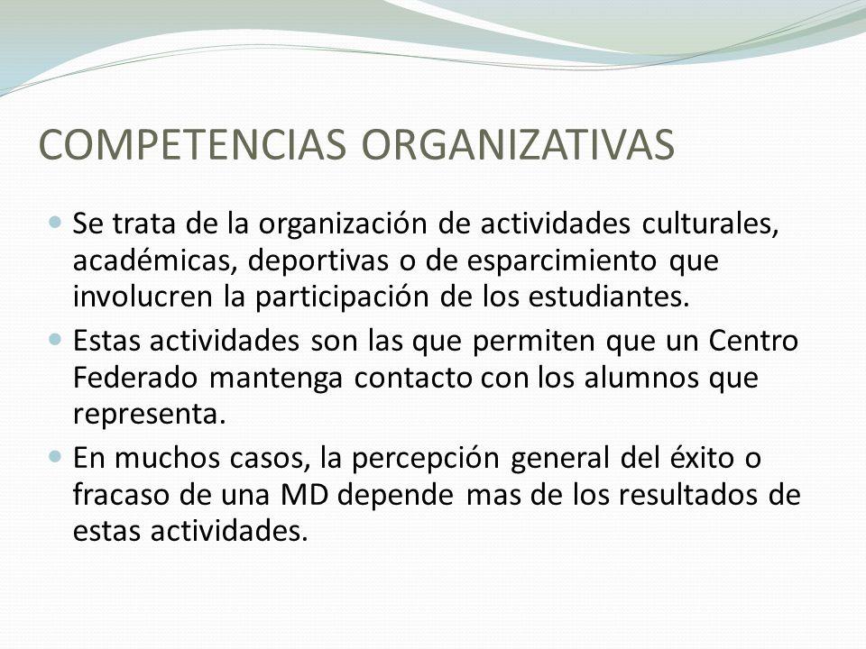 COMPETENCIAS ORGANIZATIVAS Se trata de la organización de actividades culturales, académicas, deportivas o de esparcimiento que involucren la participación de los estudiantes.