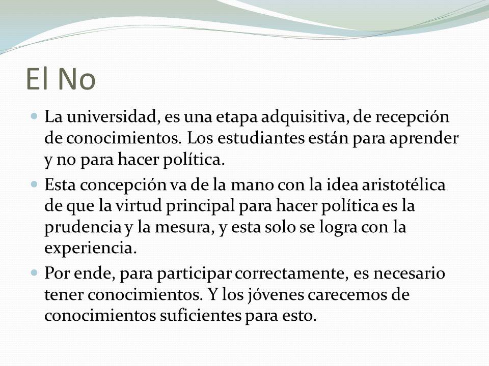 El No La universidad, es una etapa adquisitiva, de recepción de conocimientos. Los estudiantes están para aprender y no para hacer política. Esta conc
