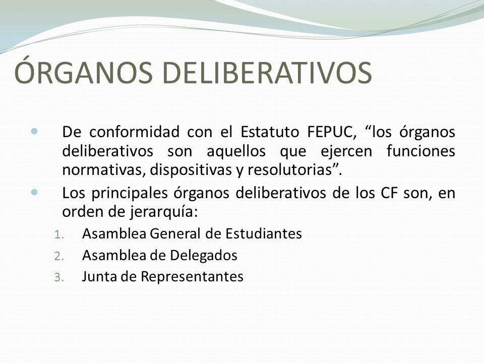 ÓRGANOS DELIBERATIVOS De conformidad con el Estatuto FEPUC, los órganos deliberativos son aquellos que ejercen funciones normativas, dispositivas y re