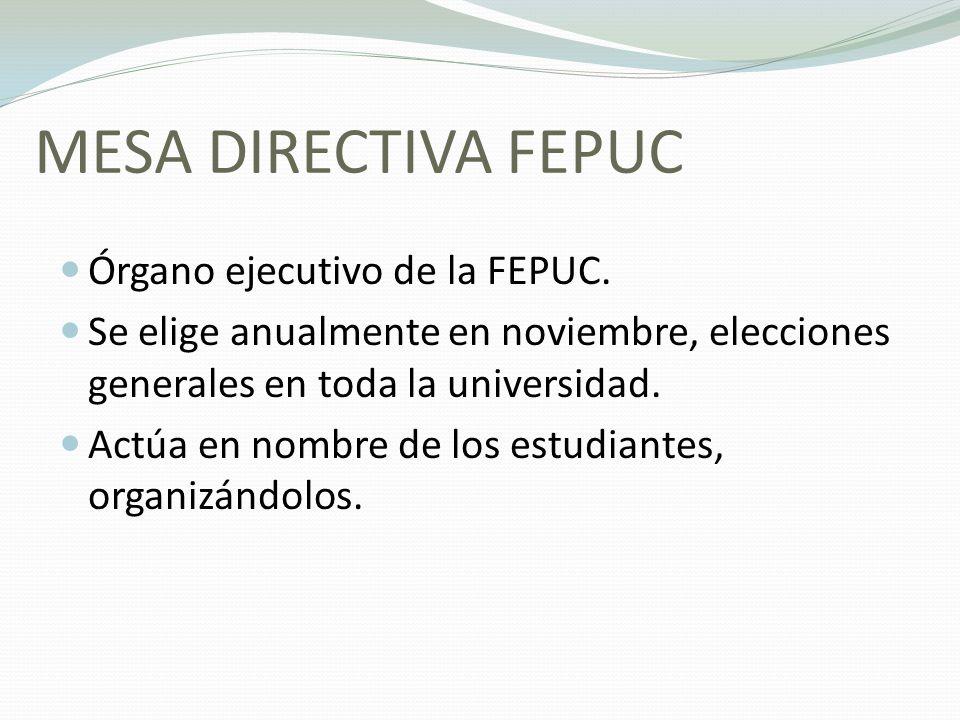 MESA DIRECTIVA FEPUC Órgano ejecutivo de la FEPUC. Se elige anualmente en noviembre, elecciones generales en toda la universidad. Actúa en nombre de l