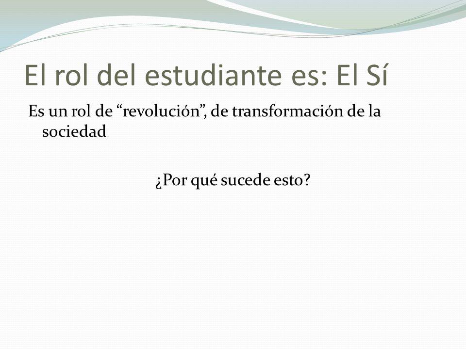 El rol del estudiante es: El Sí Es un rol de revolución, de transformación de la sociedad ¿Por qué sucede esto?