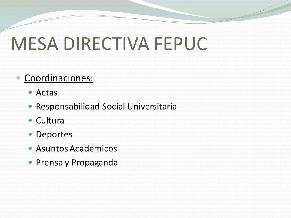 MESA DIRECTIVA FEPUC Coordinaciones: Actas Responsabilidad Social Universitaria Cultura Deportes Asuntos Académicos Prensa y Propaganda