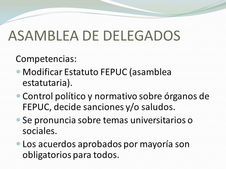 ASAMBLEA DE DELEGADOS Competencias: Modificar Estatuto FEPUC (asamblea estatutaria). Control político y normativo sobre órganos de FEPUC, decide sanci