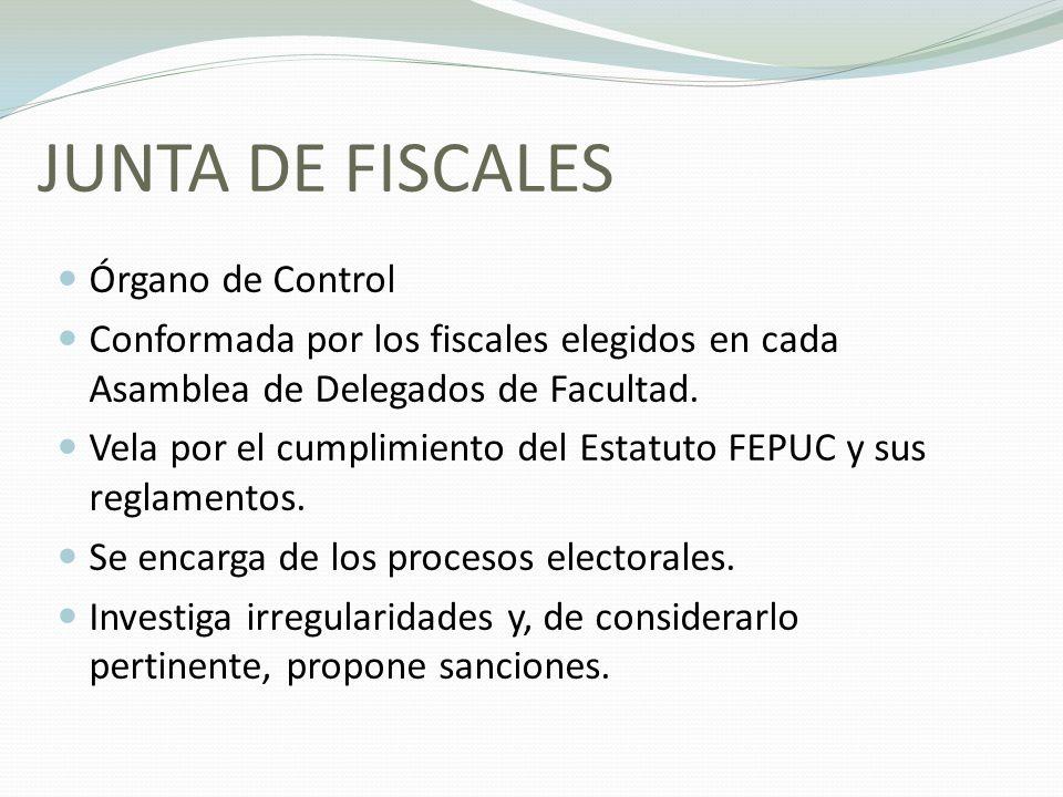JUNTA DE FISCALES Órgano de Control Conformada por los fiscales elegidos en cada Asamblea de Delegados de Facultad. Vela por el cumplimiento del Estat