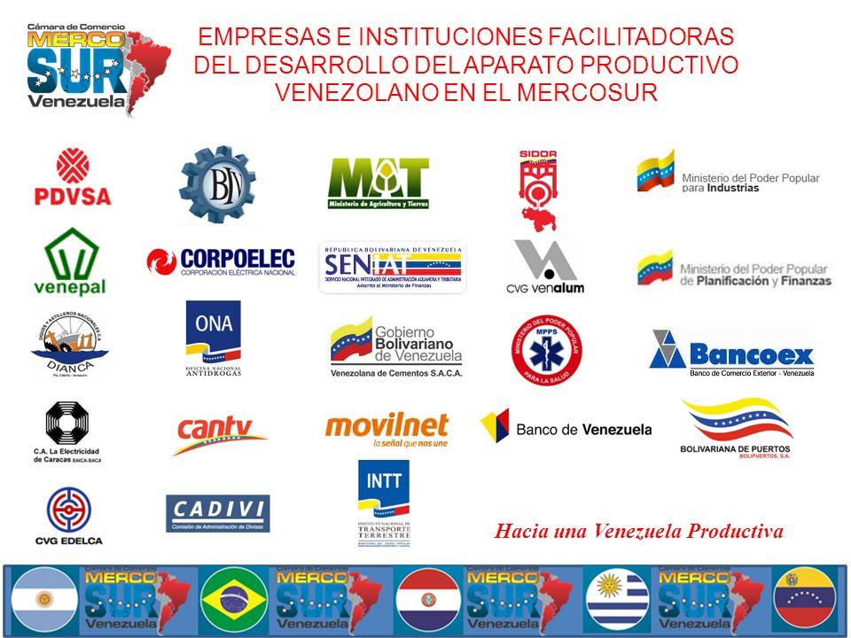 EMPRESAS E INSTITUCIONES FACILITADORAS DEL DESARROLLO DEL APARATO PRODUCTIVO VENEZOLANO EN EL MERCOSUR Hacia una Venezuela Productiva