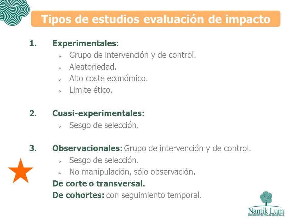 Tipos de estudios evaluación de impacto 1.Experimentales: Grupo de intervención y de control. Aleatoriedad. Alto coste económico. Limite ético. 2.Cuas