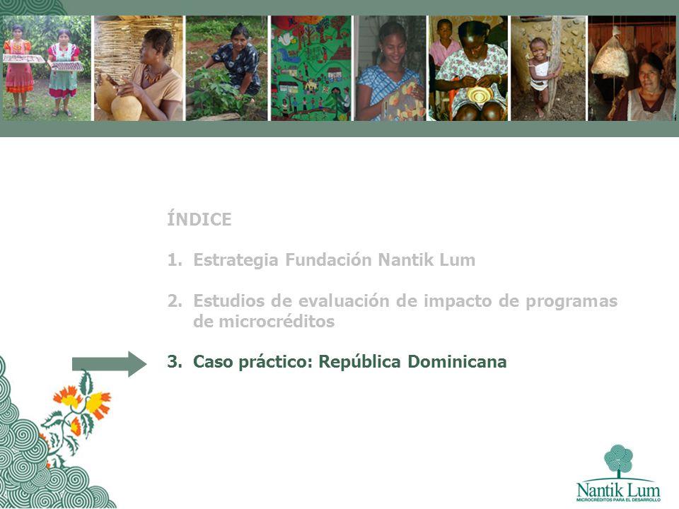 ÍNDICE 1.Estrategia Fundación Nantik Lum 2.Estudios de evaluación de impacto de programas de microcréditos 3.Caso práctico: República Dominicana