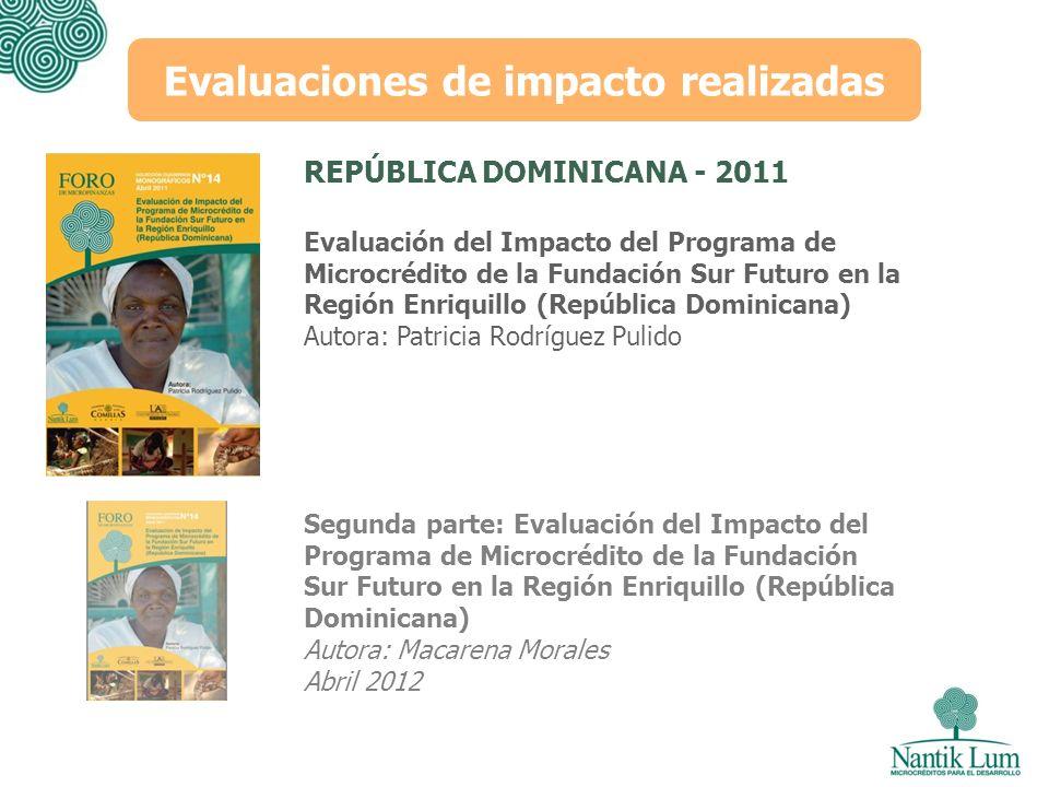 Evaluación del Impacto del Programa de Microcrédito de la Fundación Sur Futuro en la Región Enriquillo (República Dominicana) Autora: Patricia Rodrígu