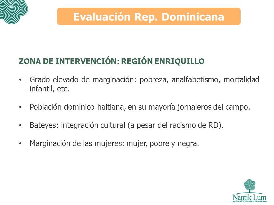 Evaluación Rep. Dominicana ZONA DE INTERVENCIÓN: REGIÓN ENRIQUILLO Grado elevado de marginación: pobreza, analfabetismo, mortalidad infantil, etc. Pob