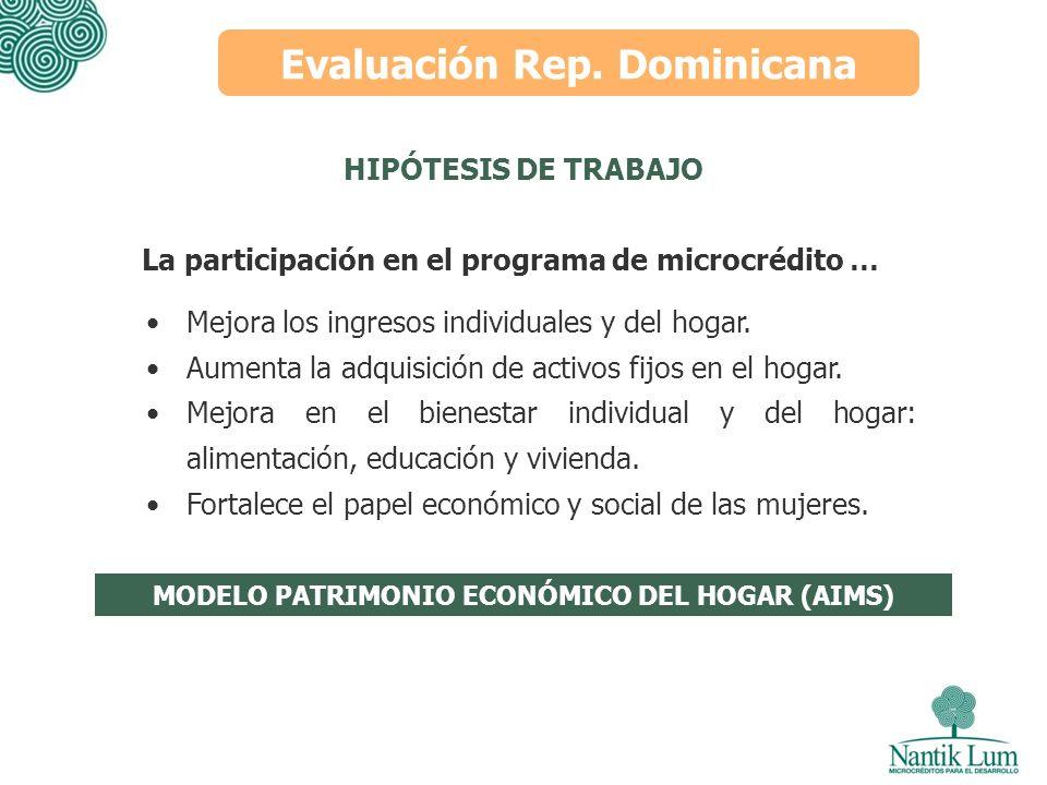 Evaluación Rep. Dominicana HIPÓTESIS DE TRABAJO Mejora los ingresos individuales y del hogar. Aumenta la adquisición de activos fijos en el hogar. Mej