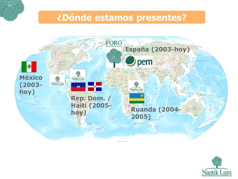 ¿Dónde estamos presentes? España (2003-hoy) Ruanda (2004- 2005) México (2003- hoy) Rep. Dom. / Haití (2005- hoy)