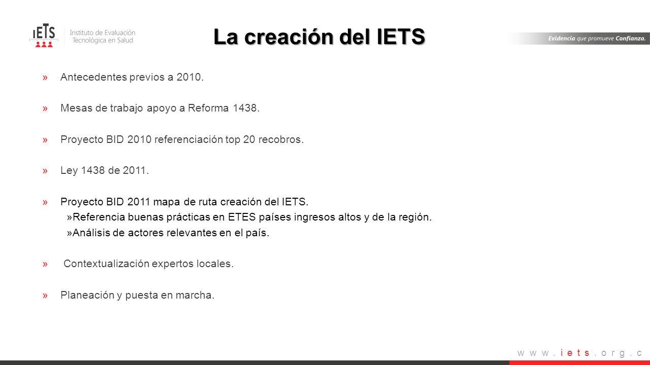 www.iets.org.c o »Antecedentes previos a 2010. »Mesas de trabajo apoyo a Reforma 1438. »Proyecto BID 2010 referenciación top 20 recobros. »Ley 1438 de