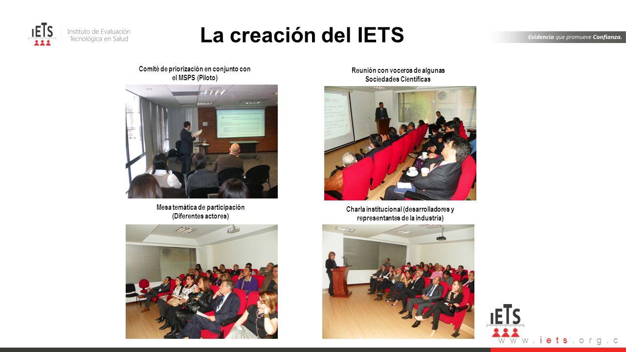 www.iets.org.c o Actividades de participación Comité de priorización en conjunto con el MSPS (Piloto) Reunión con voceros de algunas Sociedades Cientí