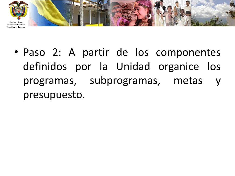 Libertad y Orden Ministerio del Interior República de Colombia Paso 2: A partir de los componentes definidos por la Unidad organice los programas, sub