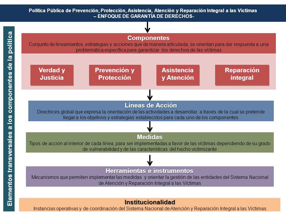 Componentes Conjunto de lineamientos, estrategias y acciones que de manera articulada, se orientan para dar respuesta a una problemática específica pa