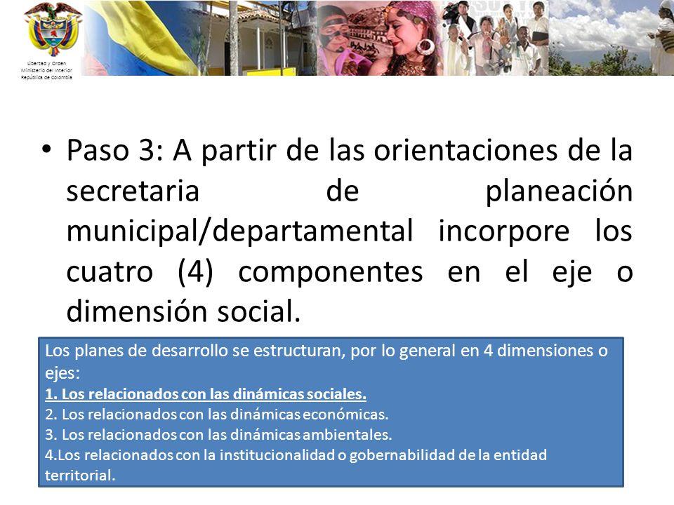 Libertad y Orden Ministerio del Interior República de Colombia Paso 3: A partir de las orientaciones de la secretaria de planeación municipal/departam