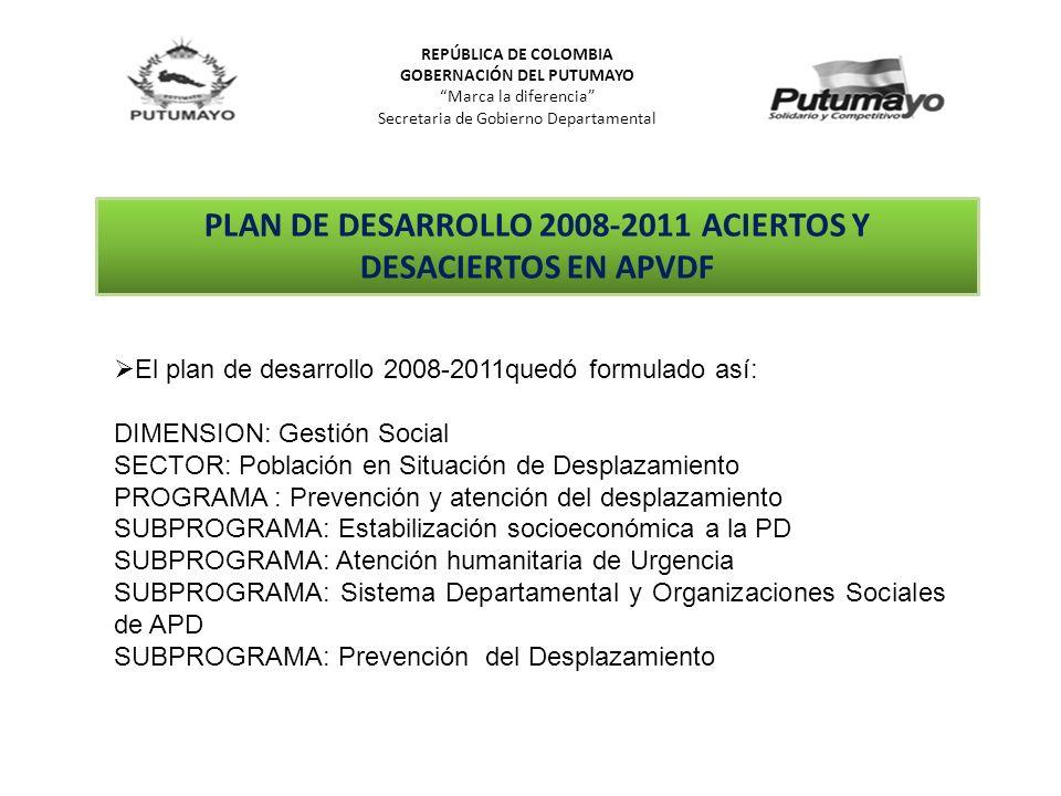 REPÚBLICA DE COLOMBIA GOBERNACIÓN DEL PUTUMAYO Marca la diferencia Secretaria de Gobierno Departamental PLAN DE DESARROLLO 2008-2011 ACIERTOS Y DESACI