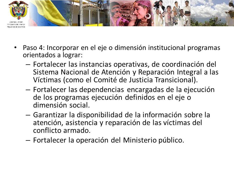 Libertad y Orden Ministerio del Interior República de Colombia Paso 4: Incorporar en el eje o dimensión institucional programas orientados a lograr: –