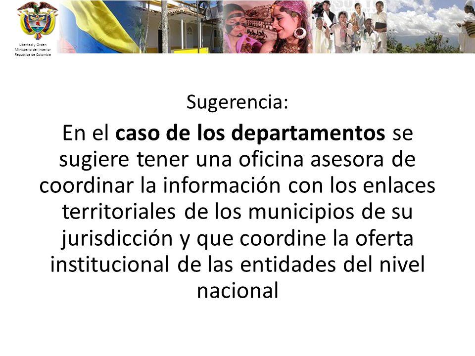 Libertad y Orden Ministerio del Interior República de Colombia Sugerencia: En el caso de los departamentos se sugiere tener una oficina asesora de coo