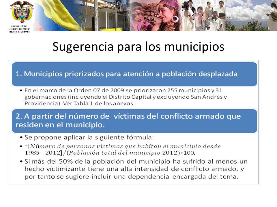 Libertad y Orden Ministerio del Interior República de Colombia Sugerencia para los municipios