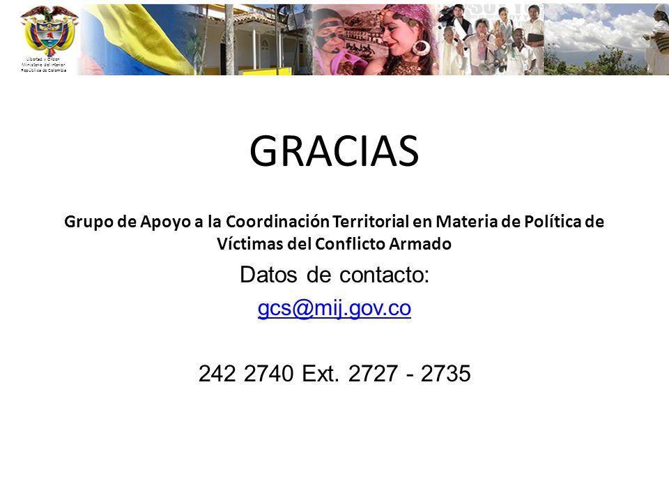 Libertad y Orden Ministerio del Interior República de Colombia GRACIAS Grupo de Apoyo a la Coordinación Territorial en Materia de Política de Víctimas