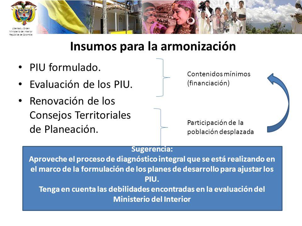 Libertad y Orden Ministerio del Interior República de Colombia Insumos para la armonización PIU formulado. Evaluación de los PIU. Renovación de los Co
