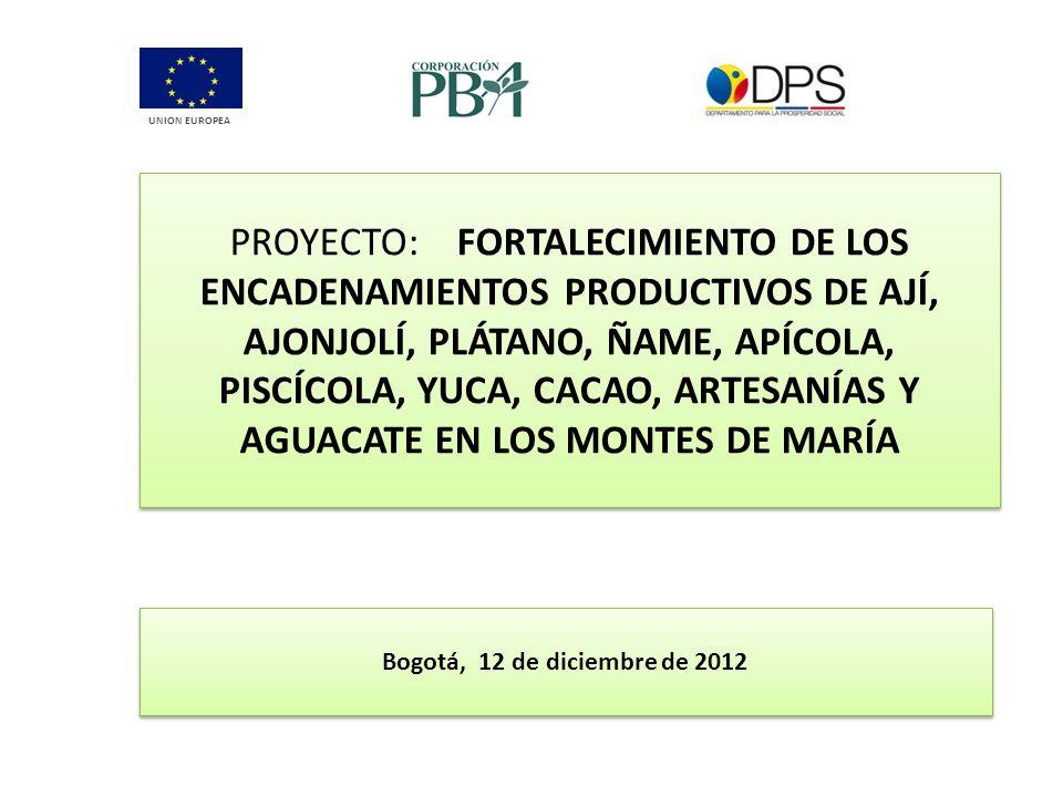 PROYECTO: FORTALECIMIENTO DE LOS ENCADENAMIENTOS PRODUCTIVOS DE AJÍ, AJONJOLÍ, PLÁTANO, ÑAME, APÍCOLA, PISCÍCOLA, YUCA, CACAO, ARTESANÍAS Y AGUACATE E