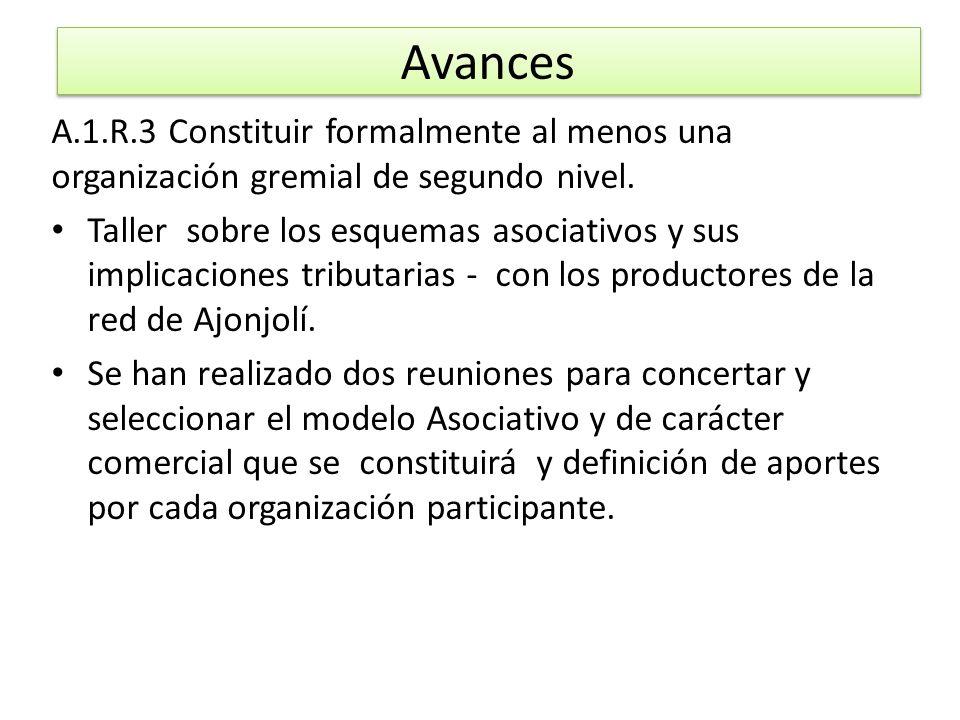 A.1.R.3 Constituir formalmente al menos una organización gremial de segundo nivel. Taller sobre los esquemas asociativos y sus implicaciones tributari