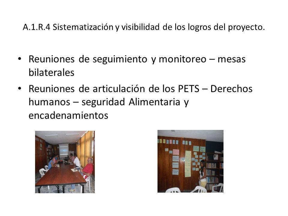 A.1.R.4 Sistematización y visibilidad de los logros del proyecto. Reuniones de seguimiento y monitoreo – mesas bilaterales Reuniones de articulación d