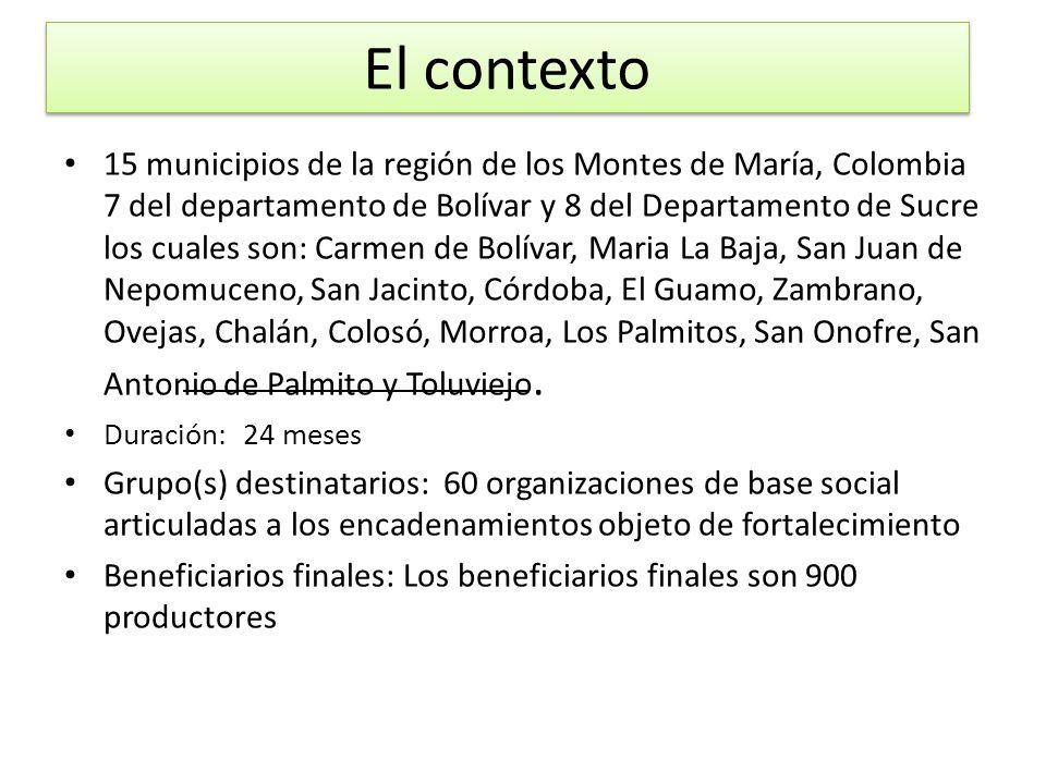 El contexto 15 municipios de la región de los Montes de María, Colombia 7 del departamento de Bolívar y 8 del Departamento de Sucre los cuales son: Ca