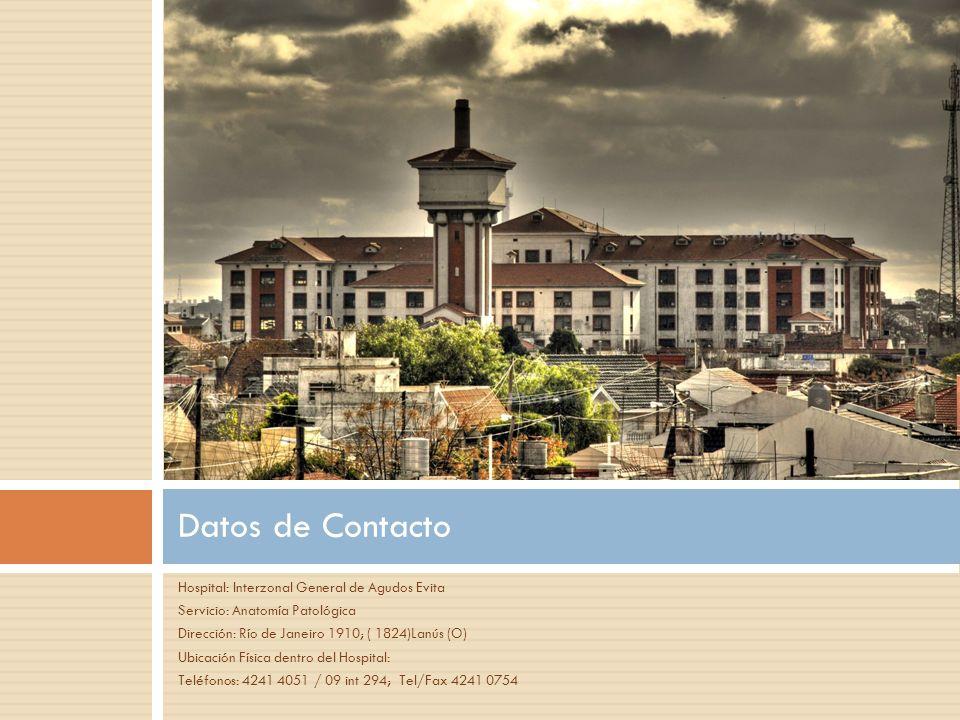 Hospital: Interzonal General de Agudos Evita Servicio: Anatomía Patológica Dirección: Río de Janeiro 1910; ( 1824)Lanús (O) Ubicación Física dentro de
