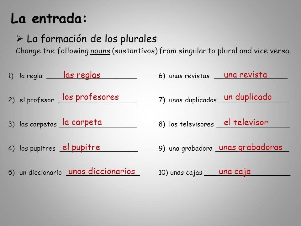 La entrada (Día 8) continuado… Los artículos – Escribe en español.