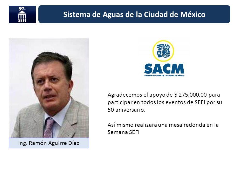 Sistema de Aguas de la Ciudad de México Agradecemos el apoyo de $ 275,000.00 para participar en todos los eventos de SEFI por su 50 aniversario. Así m