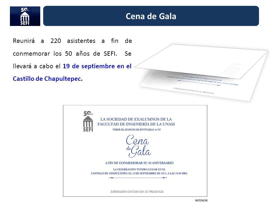 Cena de Gala Reunirá a 220 asistentes a fin de conmemorar los 50 años de SEFI. Se llevará a cabo el 19 de septiembre en el Castillo de Chapultepec.