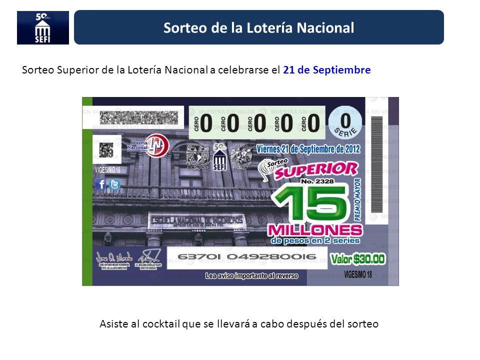 Sorteo de la Lotería Nacional Sorteo Superior de la Lotería Nacional a celebrarse el 21 de Septiembre Asiste al cocktail que se llevará a cabo después