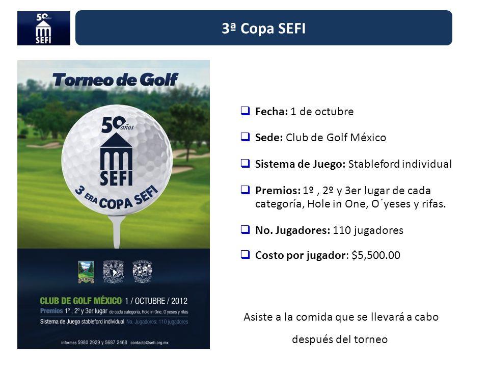 3ª Copa SEFI Fecha: 1 de octubre Sede: Club de Golf México Sistema de Juego: Stableford individual Premios: 1º, 2º y 3er lugar de cada categoría, Hole