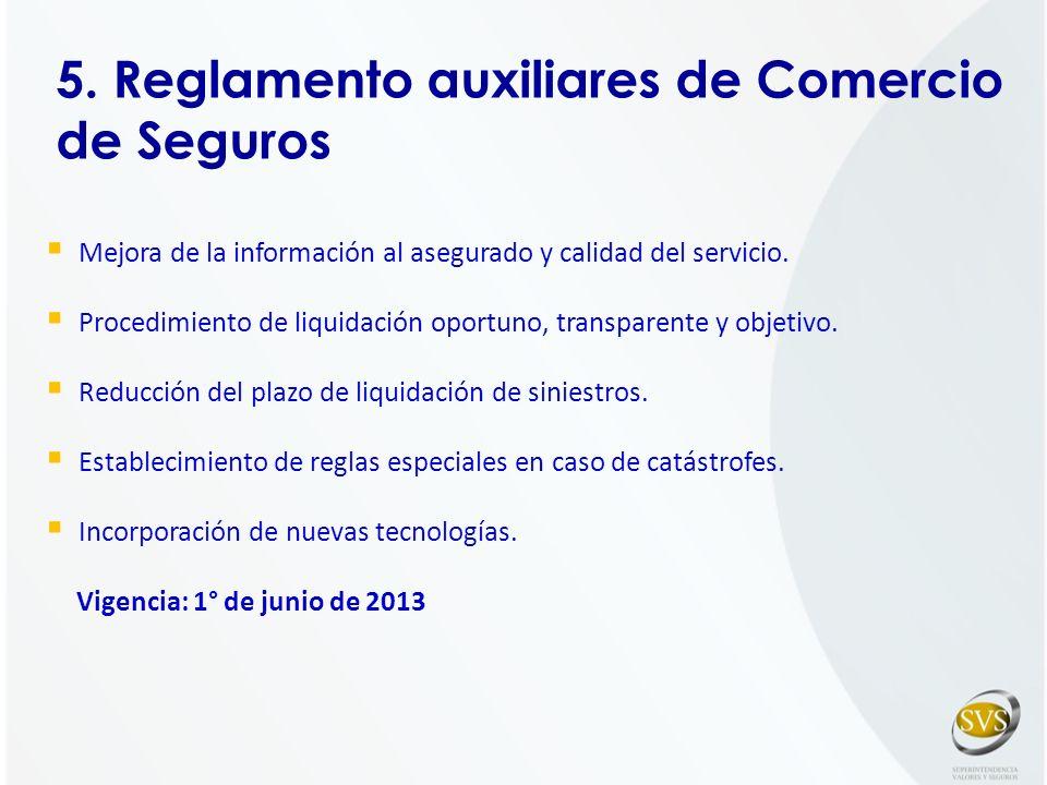 5. Reglamento auxiliares de Comercio de Seguros Mejora de la información al asegurado y calidad del servicio. Procedimiento de liquidación oportuno, t