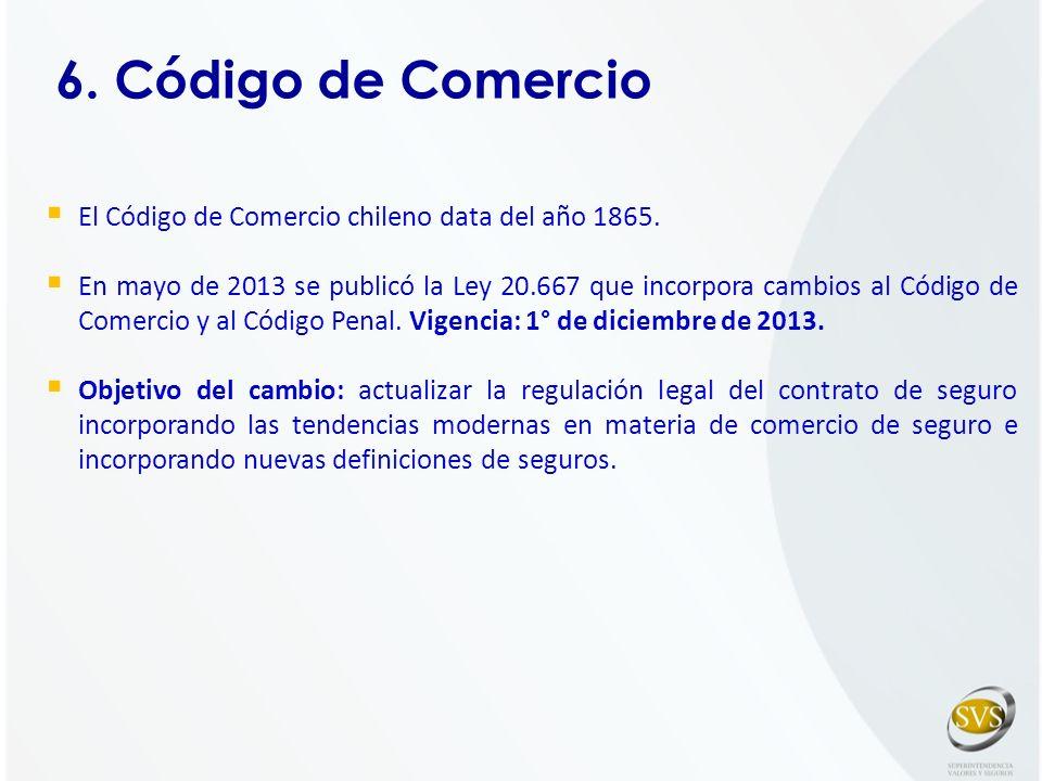 6. Código de Comercio El Código de Comercio chileno data del año 1865. En mayo de 2013 se publicó la Ley 20.667 que incorpora cambios al Código de Com