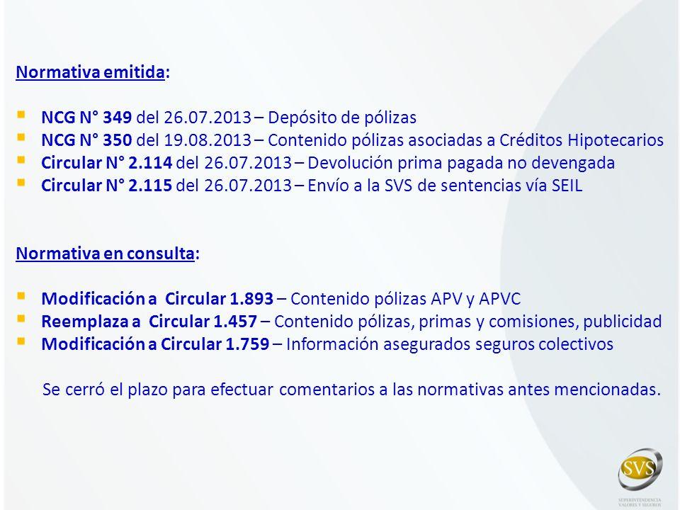 Normativa emitida: NCG N° 349 del 26.07.2013 – Depósito de pólizas NCG N° 350 del 19.08.2013 – Contenido pólizas asociadas a Créditos Hipotecarios Cir