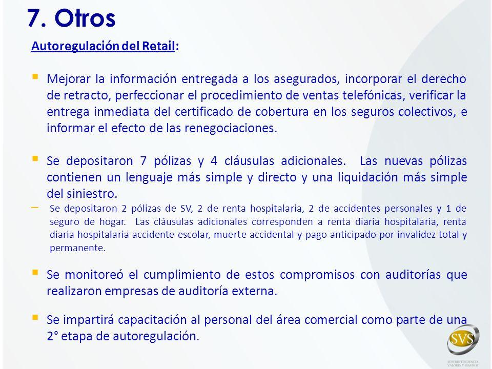 7. Otros Autoregulación del Retail: Mejorar la información entregada a los asegurados, incorporar el derecho de retracto, perfeccionar el procedimient