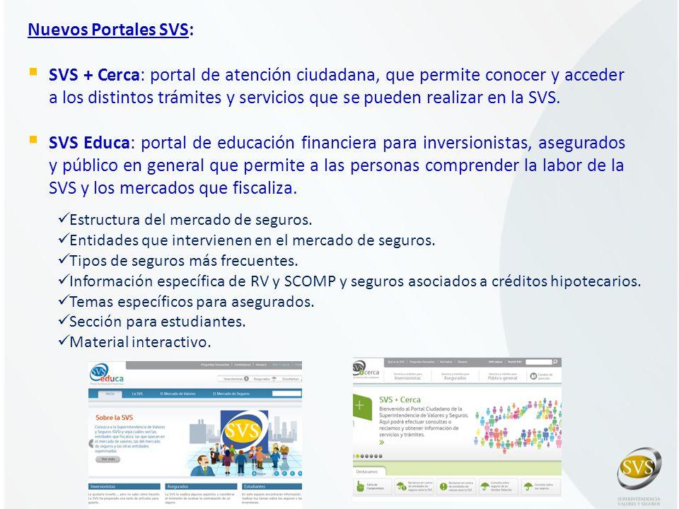 Nuevos Portales SVS: SVS + Cerca: portal de atención ciudadana, que permite conocer y acceder a los distintos trámites y servicios que se pueden reali